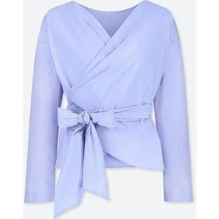 Uniqlo Wrap Top in Baby Blue