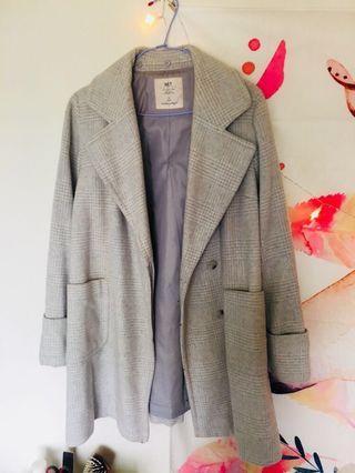 Net 格子淺綠混白大衣外套