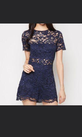 Mds navy lace romper