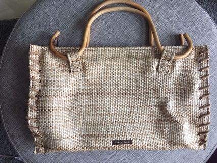 Samantha Thavasa Wooden Handle Woven Bag
