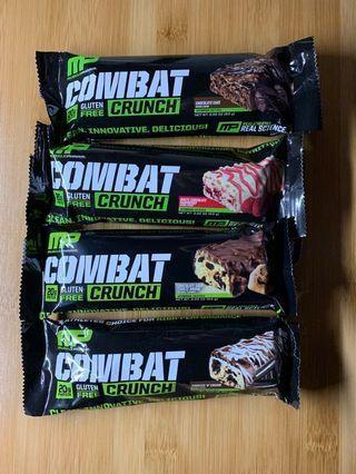 MP蛋白棒營養代餐棒 MusclePharm Combat Crunch Bar能量朱古力棒健康食品高蛋白零食Protein Bar 4條健身做gym必備夏天減肥