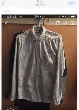 原價1400 esprit 經典 格紋 襯衫 黑白格紋 百搭不退流行 s號偏小 只適合瘦哥