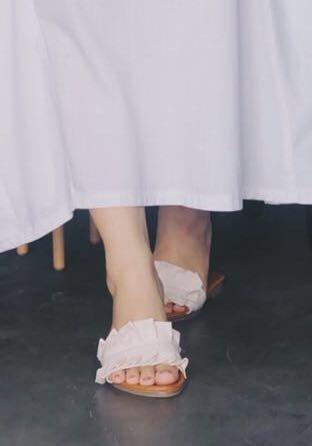 ruffle sandals in nude or beige