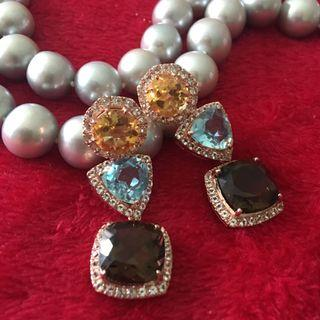 Beautiful 3 tier semi precious stone earrings