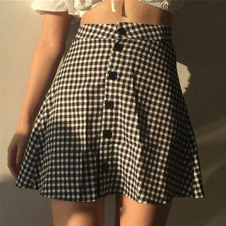 🚚 checkered high waist skirt