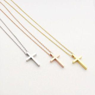 Modern Minimalist Cross charm Necklace Cross Necklace - Chat your choice of colour - Rhodium Gold Rose Gold No personalisation for this item.