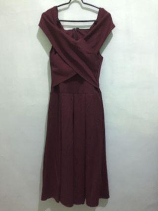 Maroon Dress sabrina