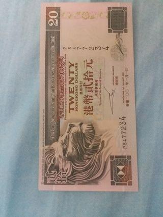 HONG KONG CURRENCY $20 (MADE IN 2001)