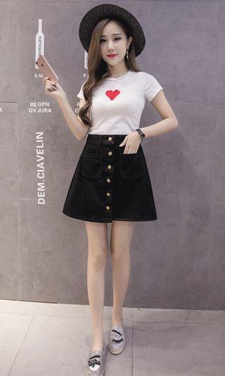 🚚 直排釦單寧短裙