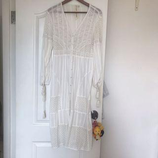River island White lace dress onepiece outer 可當外套