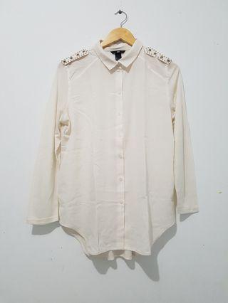 Kemeja wanita chiffon kombinasi kaos off white H&M original sz S