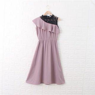 全新藕粉色日牌蕾絲拼接洋裝禮服小正式連衣裙