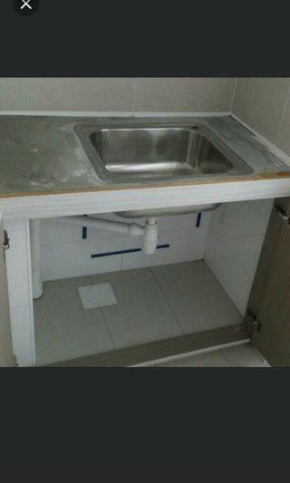 Sink concrete hollow block supports