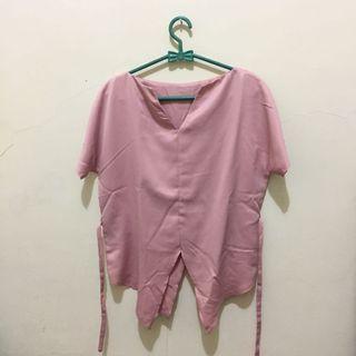 #BAPAU Pink Satin V-Neck Top