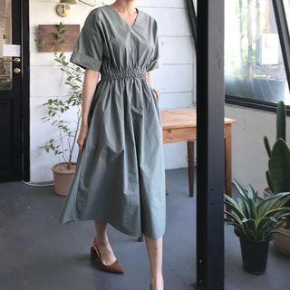 韓版復古收腰V領長裙