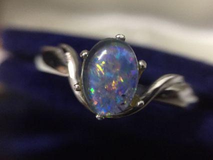 Opal triplet silver ring.