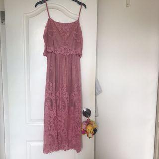 Miss selfridge beautiful pink lace dress
