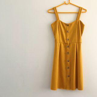 temt mustard yellow button-down dress