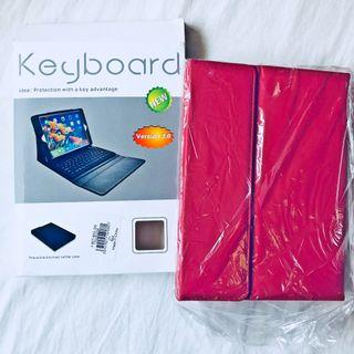 Tablet Keyboard Protection with Slime Leather Cover. Cover with keyboard. Dark Red color casing. New