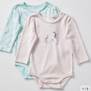 Baby Organic Cotton 2 Pack Unicorn Bodysuits