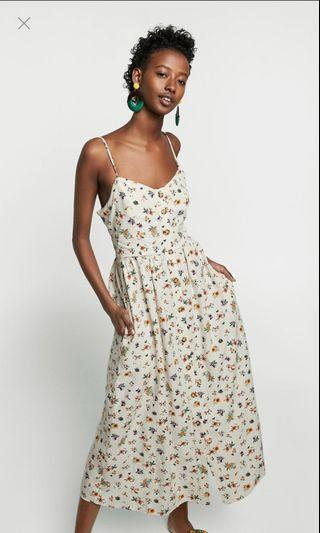 Zara White Floral Print Dress With Buttons