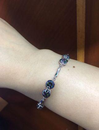 Rainbow Mystic Topaz Silver Overlay Link Chain Bracelet