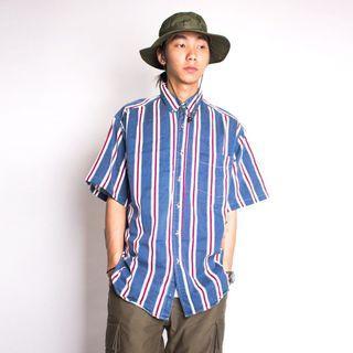 🚚 藍紅條紋襯衫 L