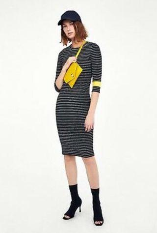 [BNWT] Zara Black White Striped Midi Dress