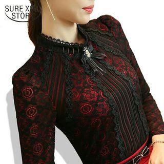 Fashion Lace Blouse Long Sleeve Slim Floral Lace Shirt Womens Tops and blouses Elegant Plus Size Tops
