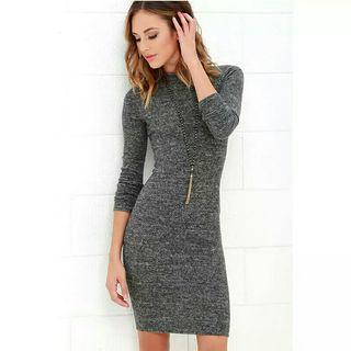 O-Neck Tight-Fitting Hip Dress Long-Sleeved Solid Wool Velvet Office Elegant Party Dresses Casual Vintage Spring