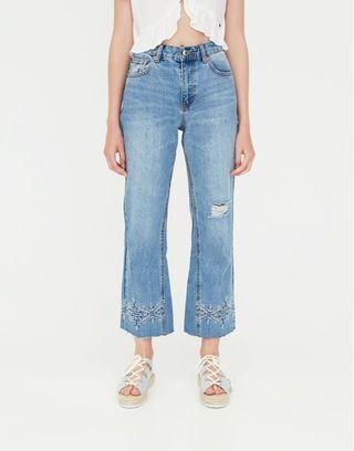 Pull&Bear Flared Cross-Stich Jeans