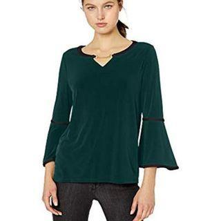 Calvin Klein Women's Green Long Sleeve With Pu Binding And Hardware