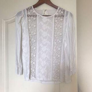Beautiful white lace cotton top 七份袖