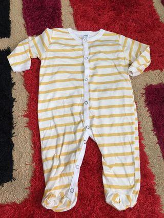 Baby Sleepsuit stripes yellow size 6 months