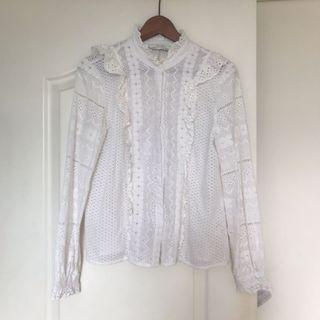 Zara white lace top shirt size m