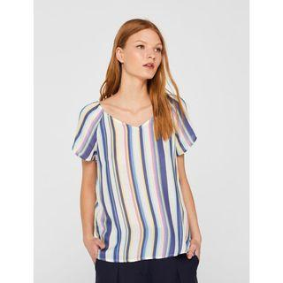 Esprit Crepe Blouse Top with Awning Stripes