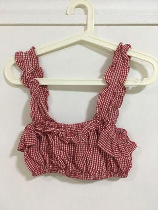 ZARA RED CHECKERED FRILLY GINGHAM CROPPED TOP