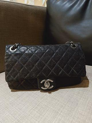 Chanel easy flap black soft caviar shw #16 (no card)