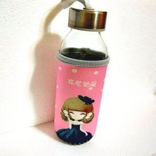 水瓶 玻璃水瓶 花花世界款 容量300ml