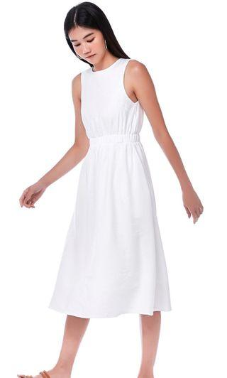 the editors market melody white midi sleeveless dress