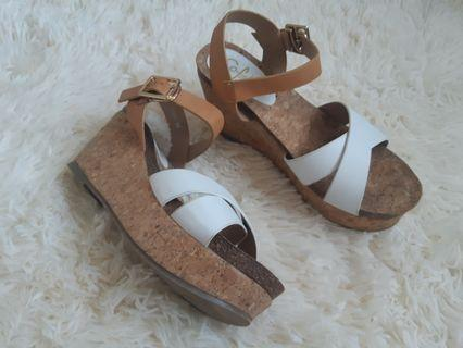 So fab cork white wedge sandals