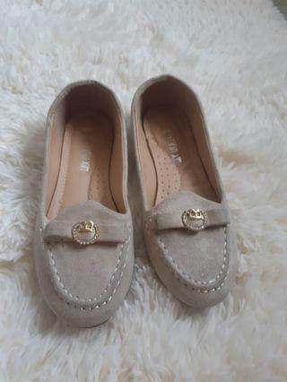Nude top sider style doll shoes