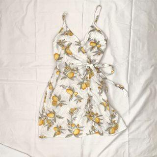 SUPRE Lemon Print Wrap Dress