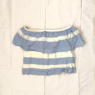 KOOKAI Blue/White Off Shoulder Crop Top