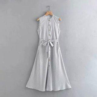 European and American style twill stripe printed stand collar single-breasted shirt dress
