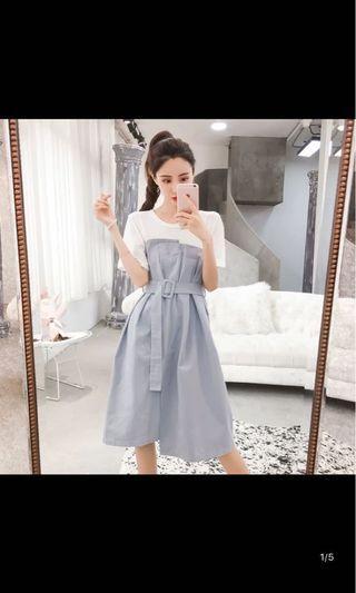 夏季 韓版 霧灰藍 斯文裙 收腰 繫帶 襯衣連衣裙 OL 連身裙