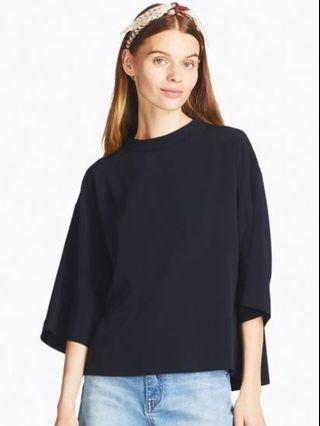 Uniqlo Women Drape 3/4 Sleeve Dark Blue T-Shirt  Blouse - price is including postage to WM