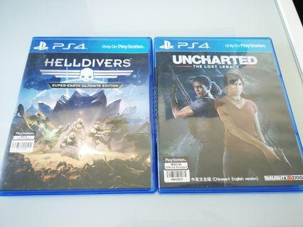 PS4 Games Unchartered & Helldivers