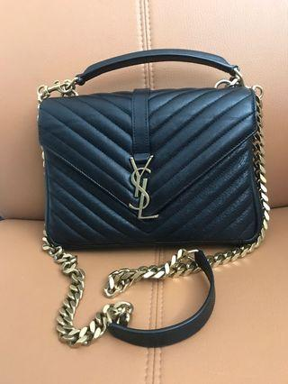 100% Authentic Preloved Saint Laurent College Medium bag with gold hardware.