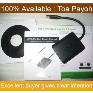 USB 3.0 to Dual port Gigabit Lan